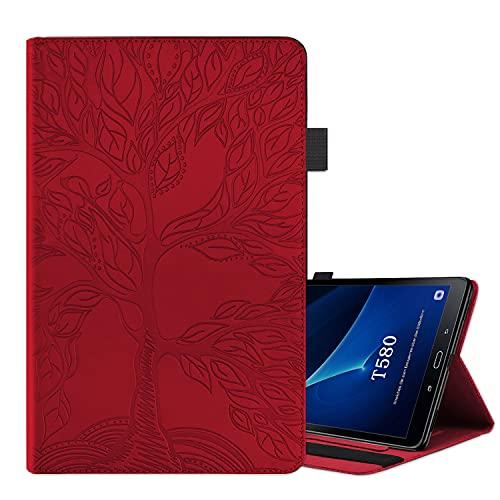 ONETHEFULCarcasaLibroFundaTabletSamsung Galaxy Tab A / A6 10.1' 2016 T580 T585CoverFundasÁrbol de la Vida ProtectorconPU CueroySoporte - Rojo