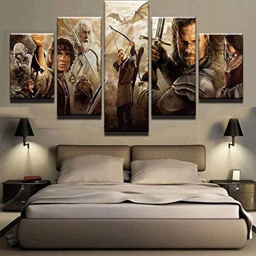 5 piezas cuadro en lienzo Cuadro compuesto por 5 lienzos impresos en HD, utilizados para decoración del hogar y carteles El señor de los anillos (150x80cm sin marco)