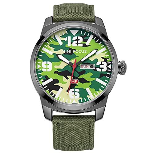 JTTM Reloj De Cuarzo Analógico para Hombre Calendario Multifunción Impermeable Cronógrafo Correa En Nailon Relojes para Hombre,Verde