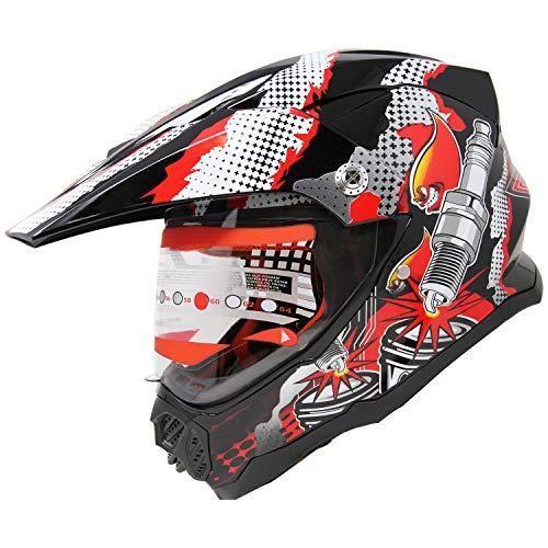 X4 Dual Sport Full Face Motorcycle Helmet ATV Motocross MX Dirt Bike Off Road Mountain Bike Helmet M406 (810_red/Black, L)