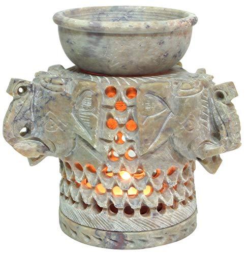 Guru-Shop Indische Duftlampe, ätherisches Öl Diffusor, Teelicht Halter für Aromatherapie, Aromalampe aus Speckstein - Drei Elefanten, Beige, 10,5x10x10 cm, Duftlampen & Öllampen