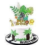LEBERY Jungle Safari Animal Cake Toppers, 10pcs Jungle Safari Animal Birthday Cake Topper Cupcake Topper Picks, Animal Cake Decorations for Jungle Safari Themed Birthday Party Baby Shower