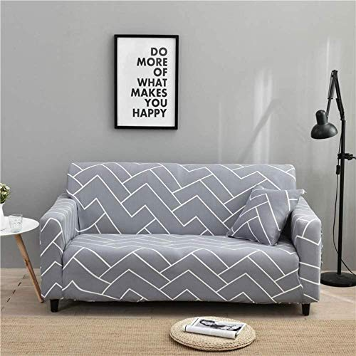 HFTYCC Funda de sofá, Carvapet Funda de sofá Fundas de sofá elásticas Tejido elástico Patrón Estampado Silla Sofá Fundas de sofá 1-4 plazas-4 plazas_Light Grey