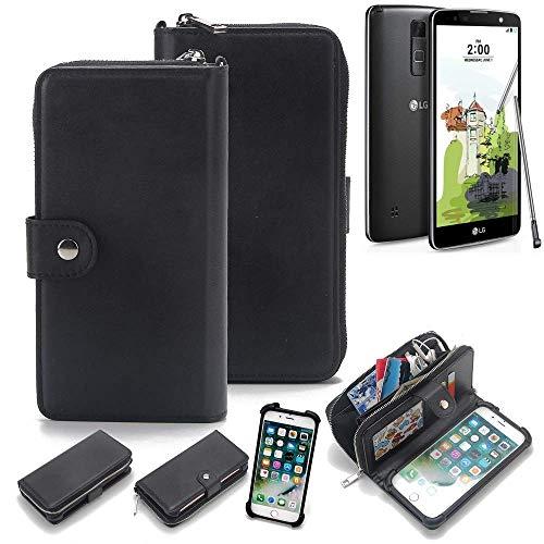 K-S-Trade 2in1 Handyhülle Für LG Electronics Stylus 2 Plus Schutzhülle und Portemonnee Schutzhülle Tasche Handytasche Hülle Etui Geldbörse Wallet Bookstyle Hülle Schwarz (1x)