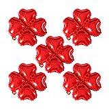 Vi.yo. Ballon de Noël 5PCS Décoration Gonflable Forme de Fleur Créative pour La Maison Cadeaux Party Office en Aluminium 16 * 10CM Rouge