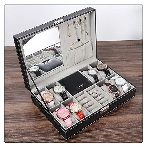 JIANGCJ Bella Caja de Cuero 6 Reloj Caja y 3 Piezas Gafas de Almacenamiento y Gafas de Gafas de Gafas Mostrar Caso Organizador Black Black (Color : 2)