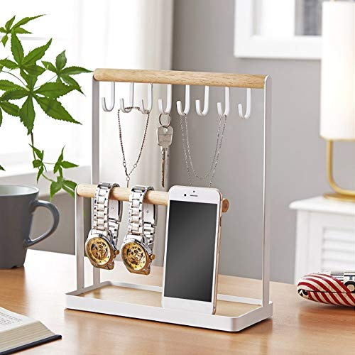 Estante para joyas, hierro + madera de caucho que ahorra espacio con 8 ganchos de almacenamiento Organizador de joyas de mesa para guardar pulseras, relojes, pendientes y otros