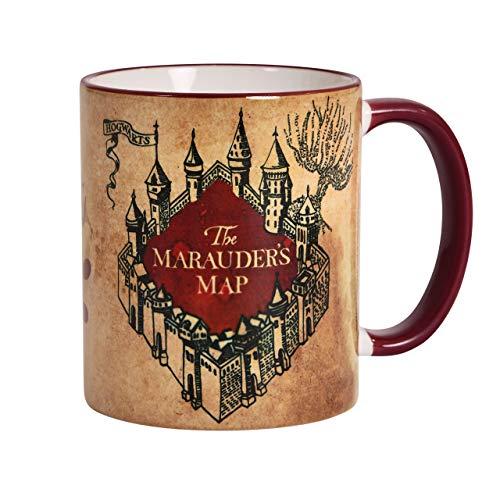 Elbenwald Harry Potter Tasse Karte des Rumtreibers Rundumdruck Keramik 320 ml beige rot