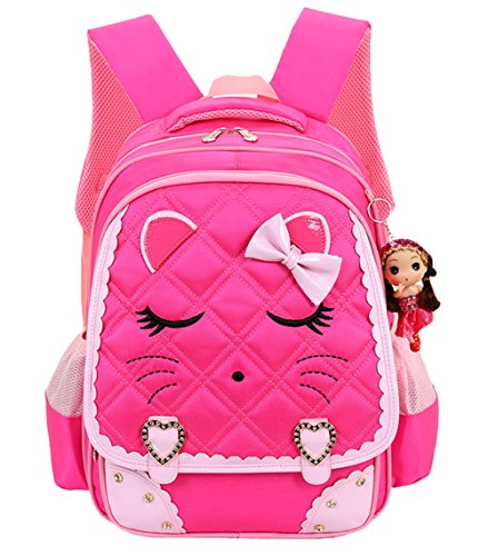 Cat Face Waterproof Girls Backpack Kids School Bookbag for Primary Students Rose Red
