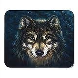 Farbe Schwarz Tier Wolfskopf Digital Painting Grau Gesichtsbürste Personalisierte Laptop Gaming Pad...