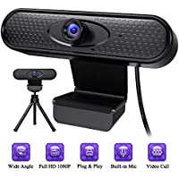 SOLINFANCIA 1080p Webcam with Microphone, Tripod & Privacy Cover