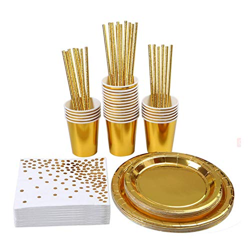 MarquisJacobs Rose Gold Party Tableware Foil Paper Plates Napkins Cups Cutlery for Wedding Birthday Anniversary Rose Gold Tableware Set for 24 Guests Gold