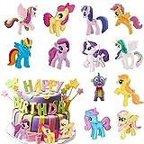 HONGECB Cake Topper Unicornio Decoración, Juego De Unicornio Para Tarta De Cumpleaños, Unicornio Cake Topper Figuras, para Cumpleaños Decoración de La Torta del Banquete de Boda, 12 piezas