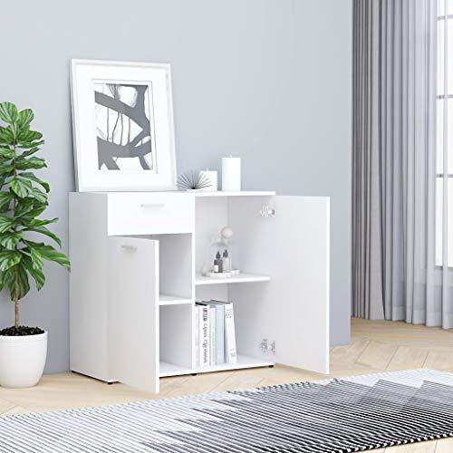 GOTOTOP Aparador Moderno con 2 Puertas y 1 Cajón, 80 x 36 x 75 cm, Armario de aglomerado para Salón, Dormitorio, Comedor, Blanco