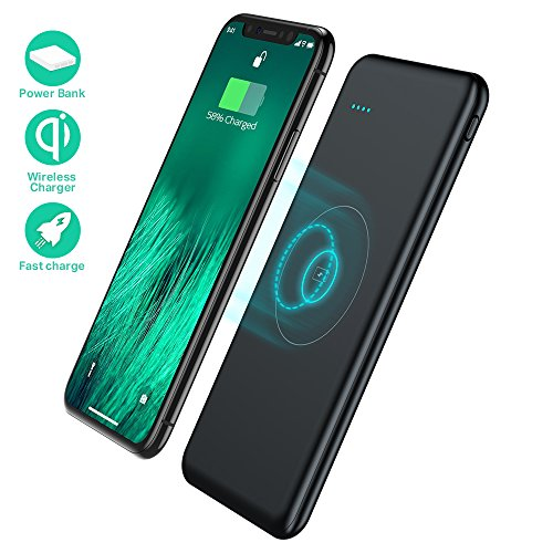 TOVAOON Wireless Portable Charger,10000mAh Fast Charging Power Bank QI Battery Charger Pad External Battery Pack for iPhone 8/8 Plus,Samaung S7 S8 S9,Note 7 8,iPhone X