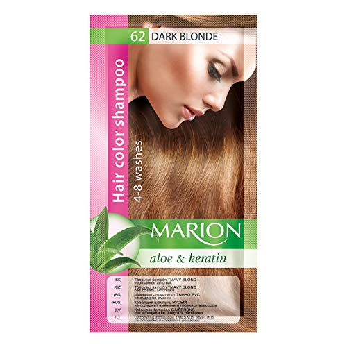 Marion, Shampooing pour couleur de cheveux en sachet, résiste à 4 à 8 lavages, à l'aloe vera et à la kératine, couleur semi-permanente