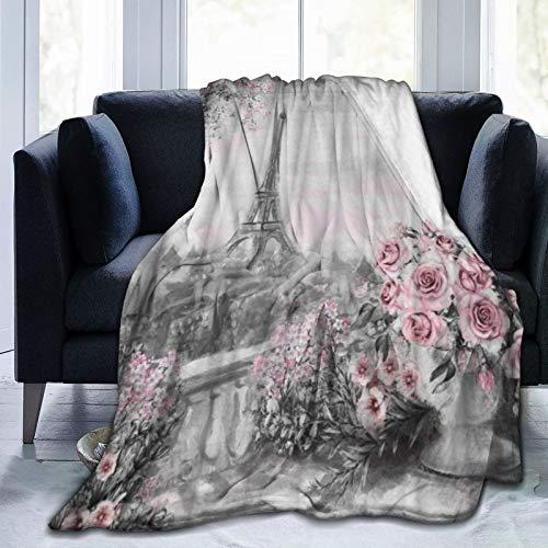 KOSALAER Bedding Manta,Vintage Paris Pintura Torre Eiffel Rosa Flor Primavera Paisaje Urbano,Mantas cálidas de Sala de Estar/Dormitorio Ultra Suaves para Todas Las Estaciones