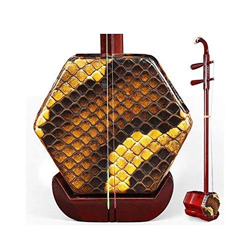 Erhu Instrument, Handgefertigte Profi Adult afrikanischen Leaflet Palisander Anfänger Erwachsene Instrument, Sechs-Parteien-ethnische Instrument, Silber Seide Holzschaft + Shock Box (Farbe: Palisander