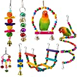 ESRISE 7 Pcs Bird Parrot Toys, Hanging Bell Pet Bird Cage Hammock Swing Climbing Ladders Toy Wooden Perch Chewing Toy for Small Parrots, Conures, Love Birds, Small Parakeets Cockatiels, Finche