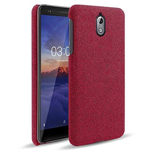 BINGRAN Nokia 3.1 Cover TPU Morbido Antiurto e Guscio Custodia in Fodera di Tela di Alta qualità Custodia Cover for Nokia 3.1-Rosso