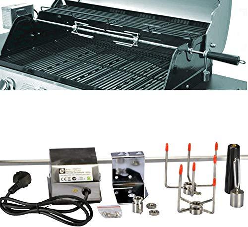 DRULINE Sale Grillspieß Set, 120 cm, inkl. Edelstahl Motor, 220V - 240V, inkl. 2 Stück Fleischklammern, Rotisserie, Drehspiess aus Metall verchromt, Spiess Set, elektrischer Drehspiess