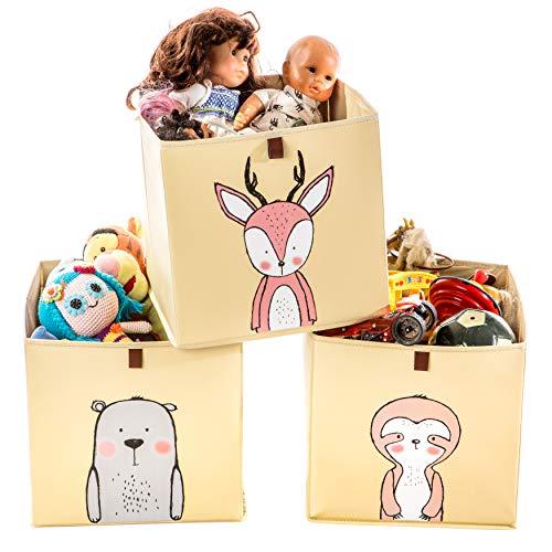 2friends 3 Kinder Aufbewahrungsboxen mit Schlaufe zum Herausziehen, 3er Set mit 3 Motiven, 33x33x33 cm, ideal für Kallax-Regale, stabil und abwaschbar, beige