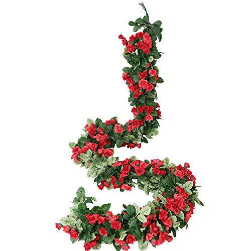 Cotemdery Paquete de 2 guirnaldas artificiales de rosas para decoración de flores para colgar en el jardín, manualidades, rosas de hiedra para arreglos de arcos de boda, color rojo, 2,3 m x 2 unidades