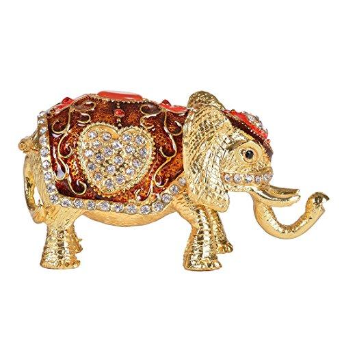 MICG Schmuckkästchen, Elefantenfigur, zur Aufbewahrung von Schmuck, Ringhalter., Legierung, Rot / Gold, 3.9*2.2*0.8Inch