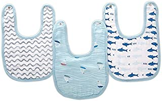 """Aden by aden + anais Snap Bib, 100% Cotton Muslin, Soft Absorbent 3 Layers, Adjustable, 9"""" X 13"""", 3 Pack, Making Waves"""