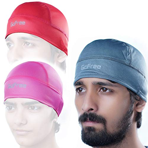GoFree High Performance Helmet Cap for Men & Women (Unisex) – Sweat & Heat Wicking Stretch Fabric [Motorcycle, Bike & Sports Under Helmet Liner Cap with Dry Fit] (3 Pcs [Grey, Red, Pink])