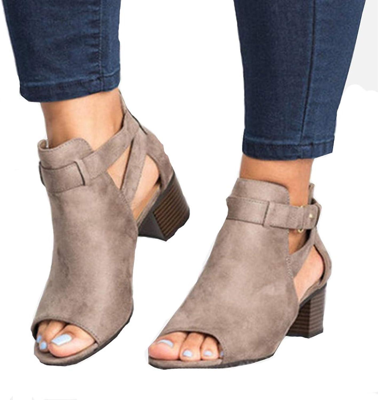 HEDDK Summer Women Casual Middle Heel Peep Toe Sandals Women Fashion Ankle Strap Sandals Beach shoes Plus Size 34-42