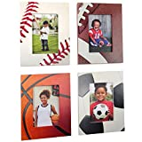 Excello Global Products Athletic Sports Picture Frames - Baseball - Football - Basketball - Soccer - Holds 4' x 6' Photo - Great for Award Ceremonies and Home Décor - (Pack of 4)