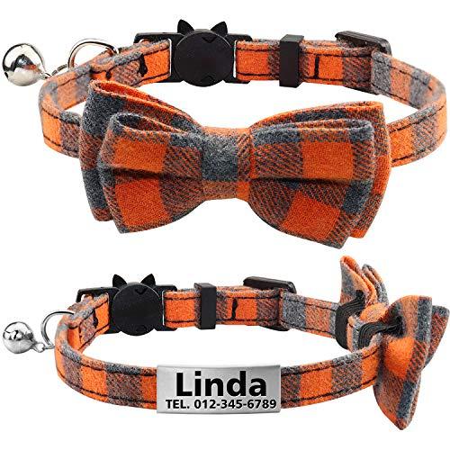TagME Personalisierter Katzenhalsband mit Sicherheitsverschluss & Krawatte, Katzenmarken aus Edelstahl Gravur mit Name und Telefonnummer,Orange