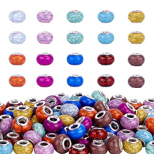 PandaHall 100 cuentas europeas de resina de 10 colores de 5 mm con agujero grande facetado Rondelle para abalorios europeos, pulseras, collares y bisutería.