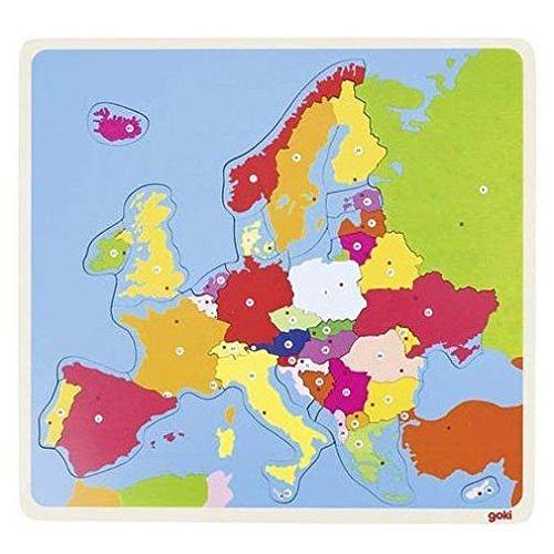 Goki- Puzzles de maderaPuzzles de maderaGOKIPuzzle Europa, Multicolor (1)