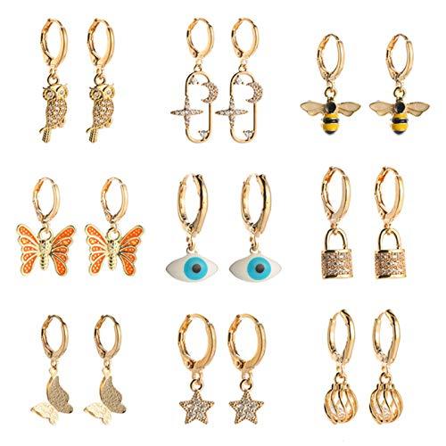 BNMY Pendientes para Mujer Pendientes De Circonita Micro-Set Elegante Simplicidad Estrella Luna Abeja Pendientes Mal De Ojo, Pendientes Delicados,9 Pack