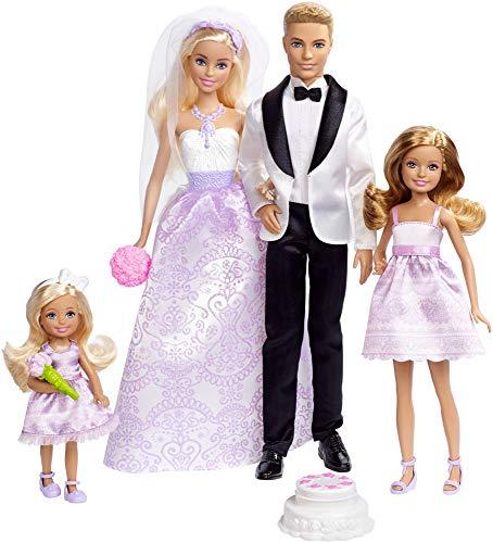 Barbie Coffret Mariage 4poupées, dont deux mariés et deux demoiselles dhonneur, jouet pour enfant, DJR88