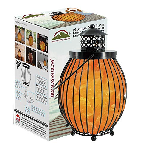Himalayan Glow 1342 Lantern Style Basket Chunks,Pink Nightlight,Salt Lamp Bulb,(ETL Certified) Dimmer Switch,Pleasant & Relaxing Amber Glow |, 7-9 lbs