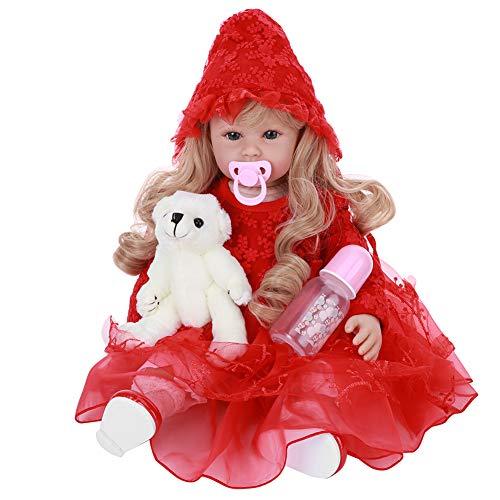 HONG111 Boneca bebê Reborn menina realista, bebê de aparência real com cabelo loiro membros de silicone e cabeça tecido macio com peso corporal, sensação de bebe com lindo vestido de princesa (60 cm)
