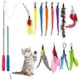 tonyg-p 14 Pack Cat Feather Toys, RetractableInteractive Cat TeaserWandToy for Exercising Kitten Cat Having Fun Exerciser Playing