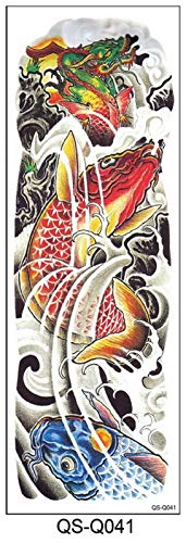 ETXP wasserdichte temporäre Tattoos 48 * 17cm Full Flower Arm Tattoo Aufkleber 40Moders Fisch Peacock Lotus Temporäre Körperfarbe Wasserübertragung Gefälschte Ärmel für Frauen, Männer (Color : Q041)