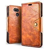 SLEO Hülle für HTC Desire 12s,Retro PU Lederhülle Wallet Deckel mit Kartensteckplätze Tasche für HTC Desire 12s Hülle - Braun