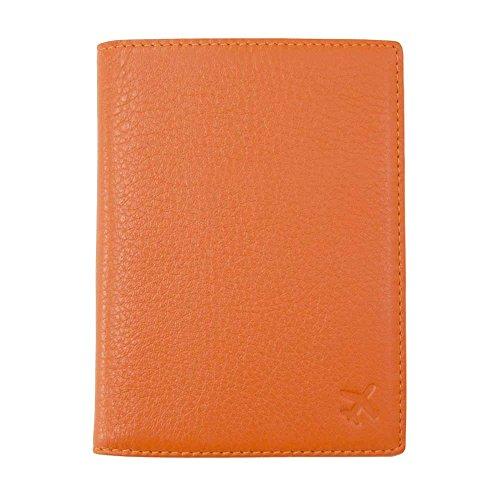 Jnjstella Genuine Leather RFID Blocking Passport Compact Case No Skimming Wallet Orange