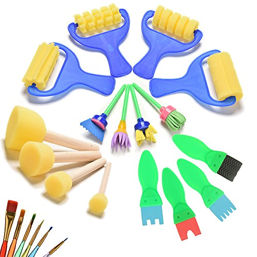 22 Pcs/Set Foam Paint Sponges Brushes Roller Brayer Art Craft Graffiti Paintbrushes Set for Kids by Crqes