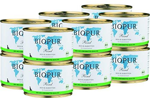BIOPUR Bio Hundefutter Rind, Reis & Karotten für Hunde-Senioren 12x400g
