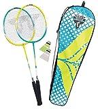 Talbot Torro 449403 Set de Badminton Premium 2-Fighter, 2 Raquetas de Aluminio, Livianos y Prácticas, 2 Volantes, en un Valiosa Bolso