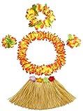 30cm Kids Elastic Grass Skirt with Flowers Bracelets Headband Necklace Hula Set, Gold, One Size