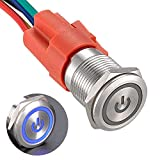 APIELE 16mm Latching Push Button Switch 0.63' 12V Power Symbol Ring Led Car Metal with Socket Plug 1NO1NC SPDT ON/Off (Blue/ Silver Shell)