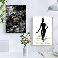 QDEI 北欧のキャンバスウォールアートガールシャドウプラントポスター手紙引用プリントキャンバス絵画植物画室家の廊下の装飾40x50cmx2フレームなし