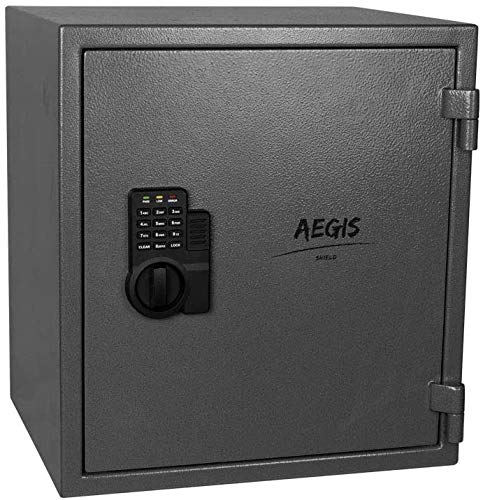 AEGIS 174 CF Fireproof Safe Electronic Security Box Safe and Lock Box with Keypad Lock and Keys for Money Jewelry Passport Home Office HotelBattery Included